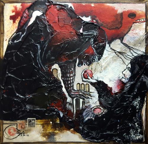 Jürgen Bley, VERSUCHUNG, Skurril, Mythologie, Abstrakte Kunst, Abstrakter Expressionismus
