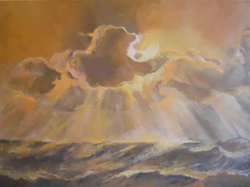Elisabeth Ksoll, Wolkensturm, Landschaft: See/Meer, Natur, Naturalismus
