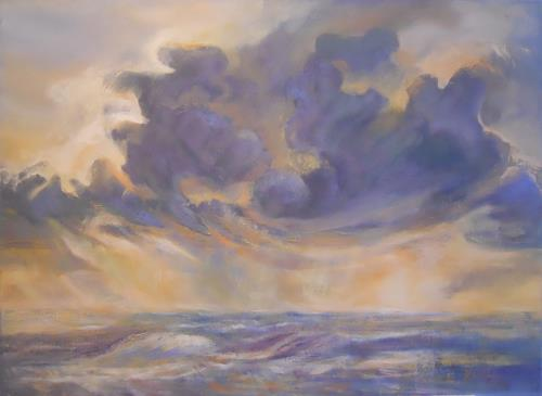 Elisabeth Ksoll, Wolkensturm, Landschaft: See/Meer, Gefühle, expressiver Realismus
