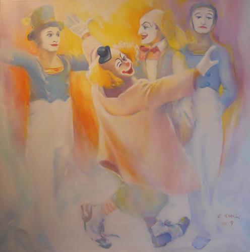 Elisabeth Ksoll, Lache Bajazzo, Menschen, Zirkus, expressiver Realismus, Expressionismus