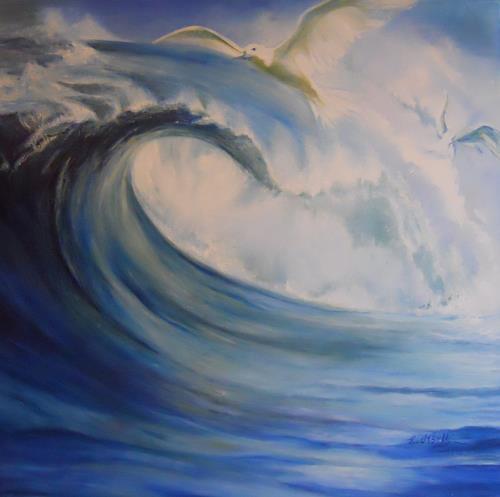 Elisabeth Ksoll, Die Welle, Landschaft: See/Meer, Bewegung, Expressionismus