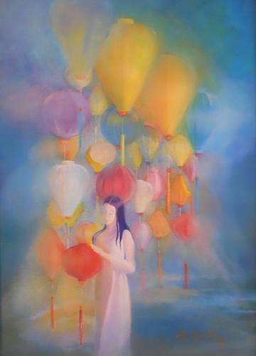 Elisabeth Ksoll, Mädchen mit Lampions, Fantasie, Romantik, Abstrakte Kunst, Expressionismus