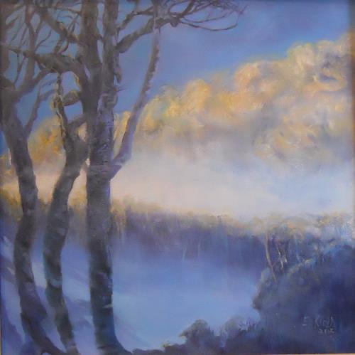 Elisabeth Ksoll, Landschaft im Nebel, Landschaft, Gefühle, Expressionismus