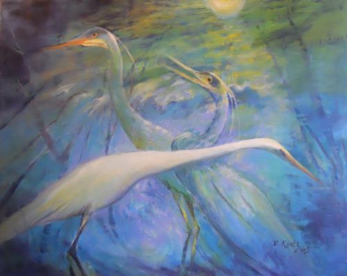 Elisabeth Ksoll, Kraniche in blue, Tiere, Gefühle, Expressionismus