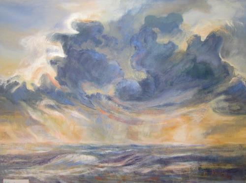 Elisabeth Ksoll, Wolkensturm, Landschaft: See/Meer, Gefühle