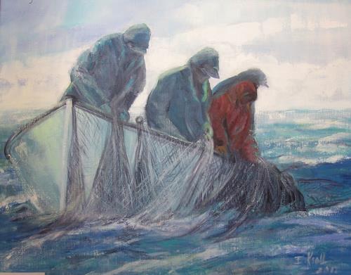 Elisabeth Ksoll, Auf Fischzug, Natur, Menschen, Abstrakte Kunst, Expressionismus