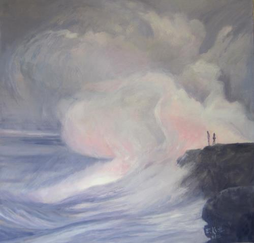 Elisabeth Ksoll, Zwischen Himmel u. Erde, Landschaft: See/Meer, Gefühle, Abstrakte Kunst