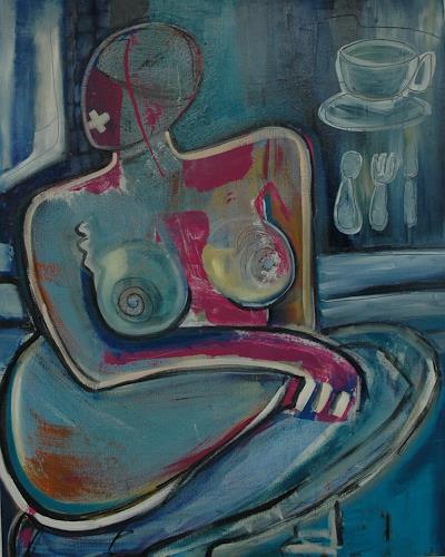 Gabriela Arellano, Frau in Blau, Menschen: Frau, Abstrakter Expressionismus