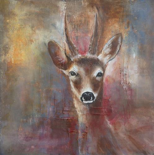 Angelika Frank, Rehbock, Tiere: Land, Abstrakte Kunst, Expressionismus