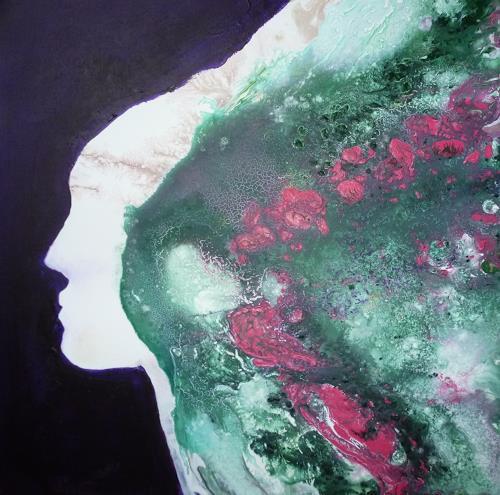 Angelika Frank, Gesicht mit Rosen, Abstraktes, Abstrakte Kunst