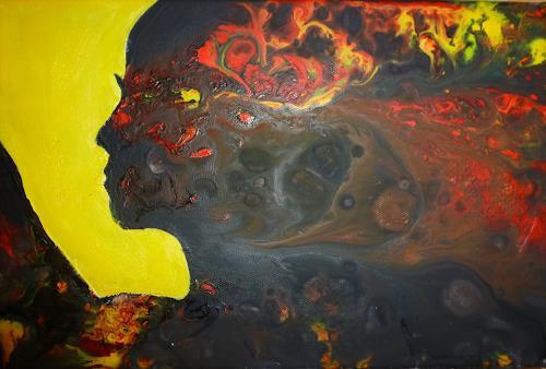 Angelika Frank, Gesicht schwarz, Abstraktes, Abstrakte Kunst
