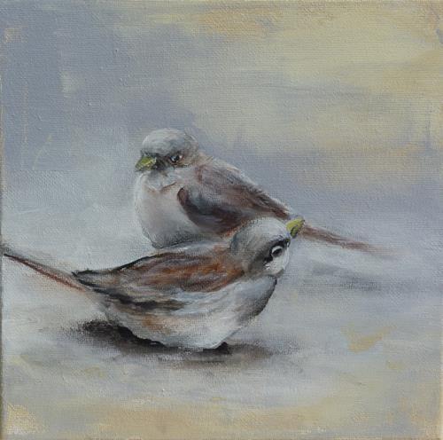 Angelika Frank, Spatzen II, Tiere: Luft, Abstrakte Kunst