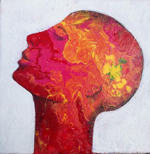 Angelika Frank, Rottöne, Menschen: Gesichter, Abstrakte Kunst, Abstrakter Expressionismus