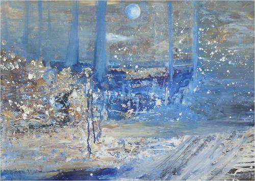 ReMara, Wintermondnacht, Landschaft, Fantasie, Gegenwartskunst, Expressionismus