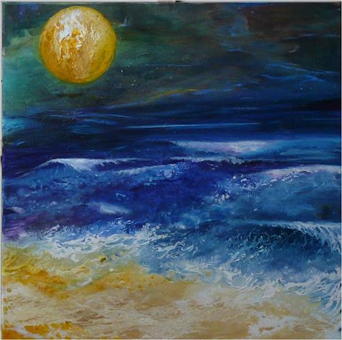 ReMara, Vollmond, Fantasie, Natur: Wasser, Gegenwartskunst, Expressionismus