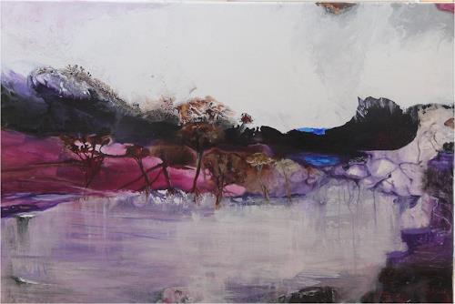 ReMara, Pink Bay, Diverse Landschaften, Fantasie, Gegenwartskunst, Abstrakter Expressionismus