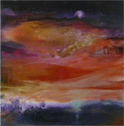 ReMara, Mond über Italien, Diverse Landschaften, Symbol, Gegenwartskunst, Expressionismus