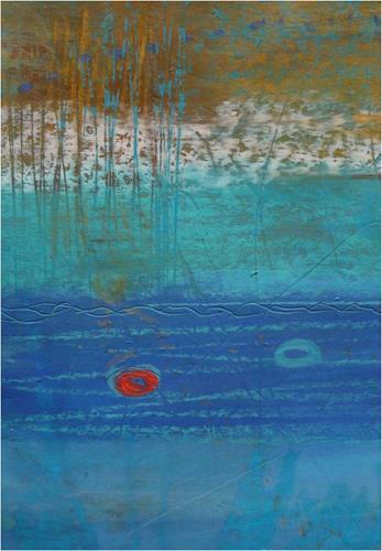 ReMara, Postkartenpärchen aus dem Urlaub, Abstraktes, Landschaft: See/Meer, Gegenwartskunst, Expressionismus