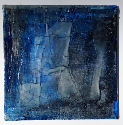 """Christel Bormann, blaue Serie""""  Pigmente in Öl auf Wachs, Abstraktes, Abstrakte Kunst"""