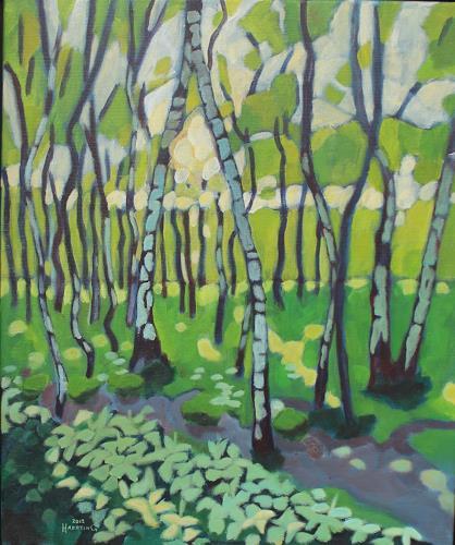 Matthias Haerting, Moorwald im Frühjahr, Landschaft: Frühling, Moderne