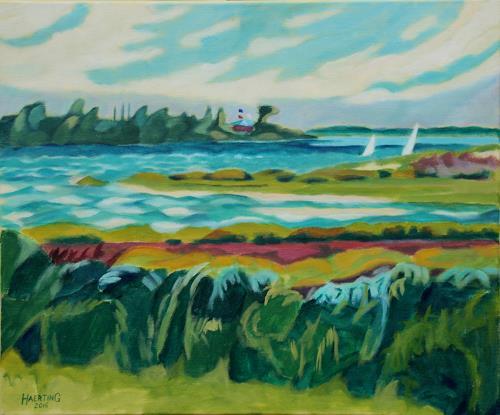Matthias Haerting, Windiger Tag (Ostvoorne), Landschaft: See/Meer, Landschaft: Sommer, Moderne