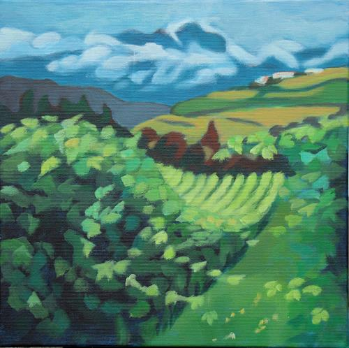 Matthias Haerting, Weinberg am Gardasee, Landschaft: Berge, Landschaft: Sommer, Moderne