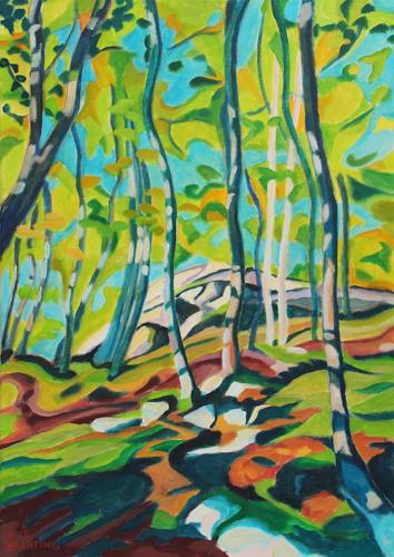 Matthias Haerting, Bergwald, Landschaft: Berge, Pflanzen: Bäume, Moderne