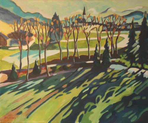 Matthias Haerting, Vorfrühling (Ellmau), Landschaft: Berge, Landschaft: Frühling, Moderne, Expressionismus