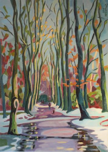 Matthias Haerting, Buchenallee (Speckenbütteler Park), Landschaft: Winter, Pflanzen: Bäume, Moderne, Expressionismus