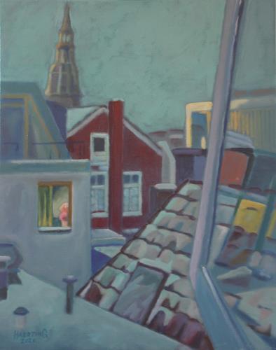 Matthias Haerting, Wintermorgen in Groningen, Landschaft: Winter, Wohnen: Stadt, Moderne, Expressionismus