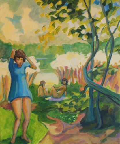 Matthias Haerting, Du gehst?, Menschen: Gruppe, Landschaft: See/Meer, Moderne, Expressionismus