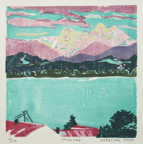 Matthias Haerting, Chiemsee, Landschaft: Berge, Landschaft: See/Meer, Moderne, Expressionismus