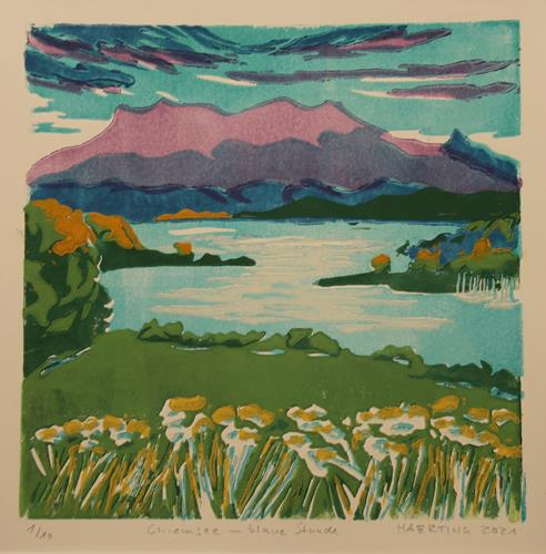 Matthias Haerting, Chiemsee - blaue Stunde, Landschaft: Berge, Natur: Wasser, Moderne