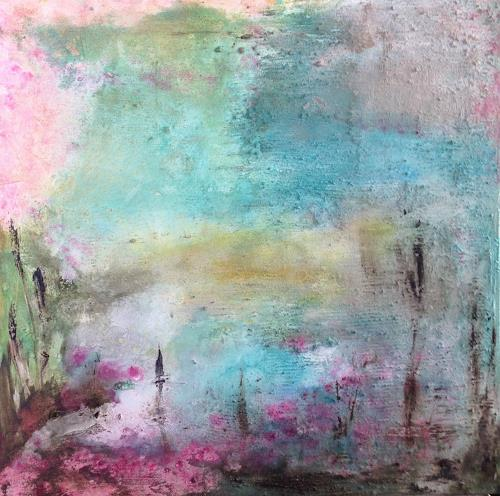 Katharina Frei-Boos, MORGENS AM SEEROSENTEICH, Abstraktes, Landschaft: See/Meer, Gegenwartskunst, Expressionismus