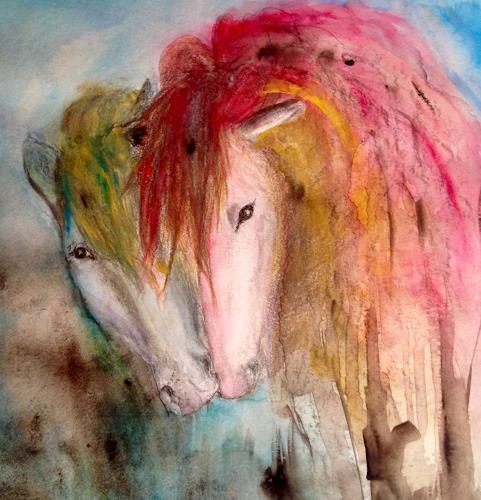Katharina Frei-Boos, Friends, Abstraktes, Tiere, Gegenwartskunst, Expressionismus