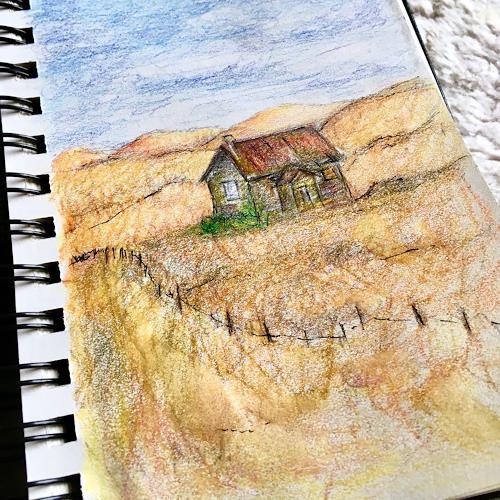 Katharina Frei-Boos, Sketchbook Sketch, Landschaft, expressiver Realismus