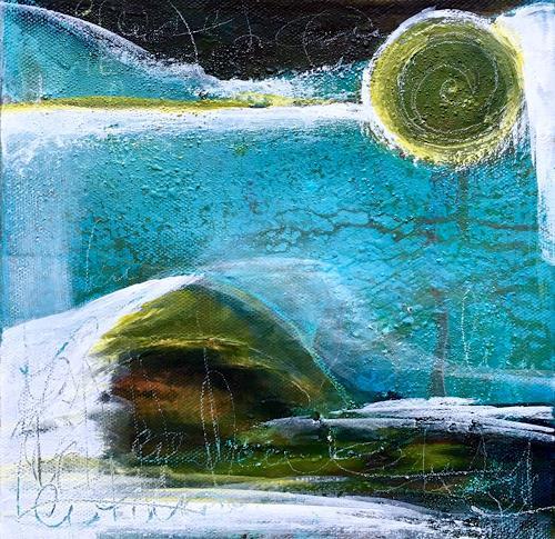 Katharina Frei-Boos, Midnight at the Beach, Landschaft, Abstraktes, Abstrakte Kunst, Expressionismus