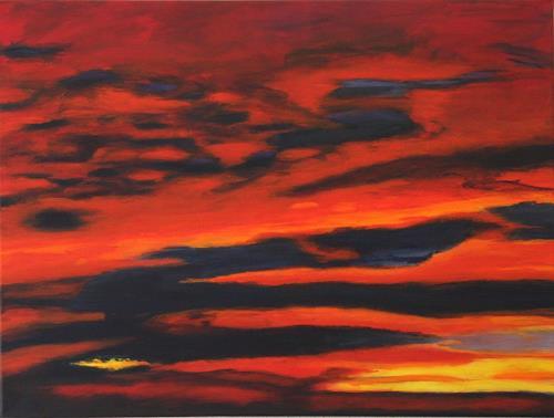 Ursula Glatz, Sonnenuntergang, Landschaft, Abstrakte Kunst