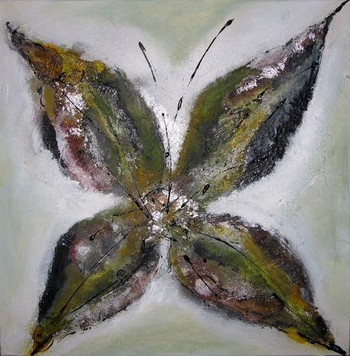 Ursula Glatz, Blüten Serie retro klein grün, Abstraktes, Abstrakte Kunst