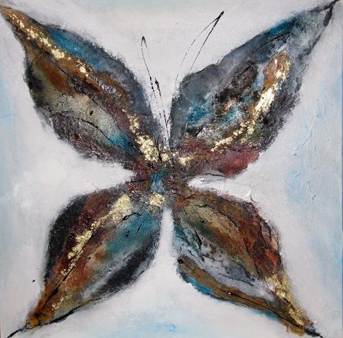 Ursula Glatz, Blüten Serie retro klein blau, Abstraktes, Abstrakte Kunst