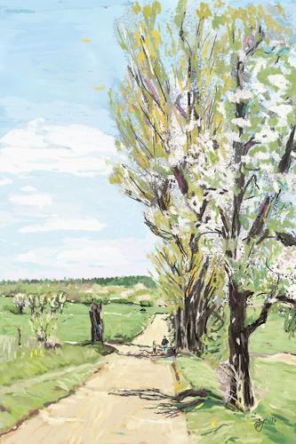 Mandy Tabatt, Der Weg in die Windlücke, Landschaft: Frühling, Landschaft: Ebene, Gegenwartskunst, Expressionismus