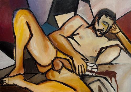 Anna Theresa Heppke, Einbrecher / Thief, Akt/Erotik: Akt Mann, Gesellschaft, Neo-Expressionismus, Abstrakter Expressionismus