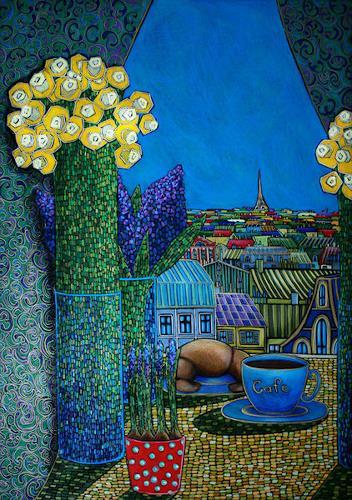 AlesyavonMeer, La Cafe de Paris, Stilleben, Fantasie, Expressionismus