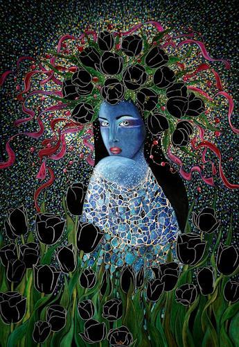 AlesyavonMeer, Black Tulip, Menschen: Frau, Diverse Pflanzen, Expressionismus
