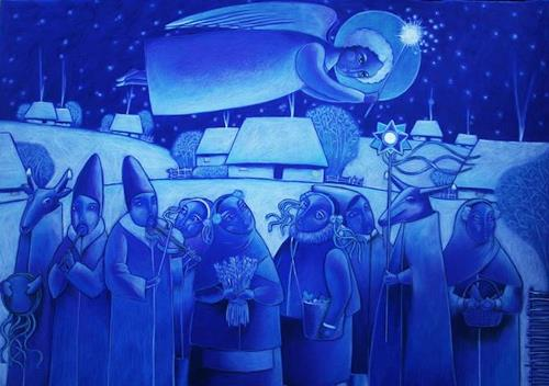 AlesyavonMeer, the night before christmas, Religion, Zeiten: Winter, Abstrakter Expressionismus