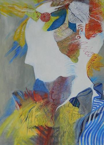 ILSE RUBY-M., Gedanken im Kopf, Abstraktes, Gegenwartskunst, Abstrakter Expressionismus
