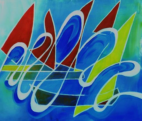 ILSE RUBY-M., Segelboote, Abstraktes, Abstraktes, Abstrakte Kunst