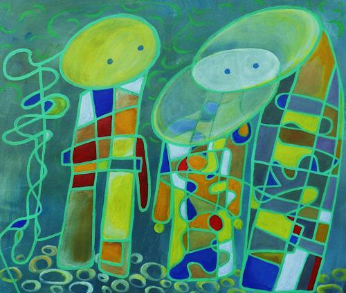 ILSE RUBY-M., Wir drei gehören zusammen, Abstraktes, Abstraktes, Abstrakte Kunst, Expressionismus