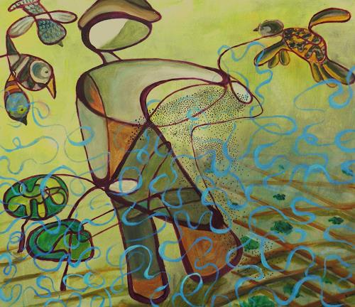 ILSE RUBY-M., Der Bauer, Menschen: Mann, Abstraktes, Abstrakte Kunst, Abstrakter Expressionismus