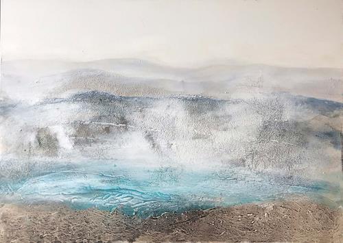 Maria und Wolfgang Liedermann, Bergsee im Nebel, Landschaft: Berge, Abstraktes, Gegenwartskunst